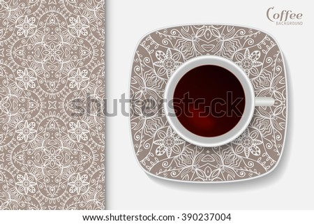 Cup of coffee with geometric lace ornament on a saucer, seamless tribal ethnic pattern repeating texture. - stock vector