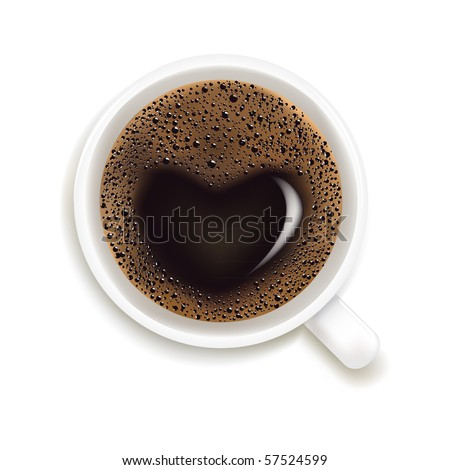 Cup Of Coffee With Heart Image Isolated On White Background, Vector Illustration - stock vector