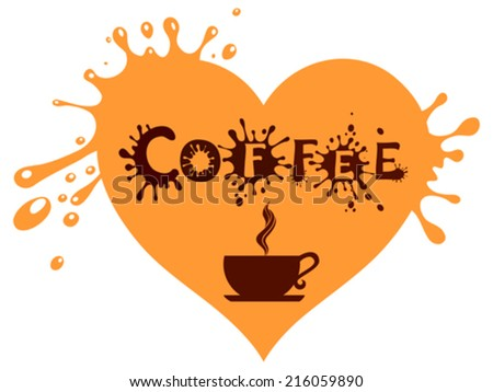Cup of coffee with heart. Vector illustration.  - stock vector