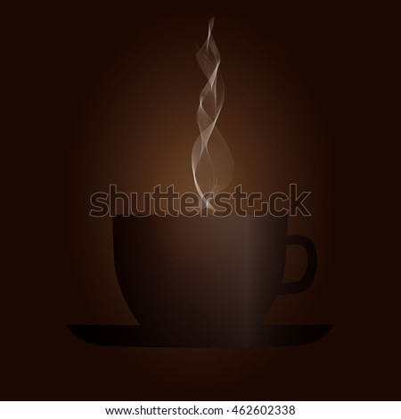 Cup of coffee with steam in brown. Coffee breakfast, coffee break. Breakfast coffee cup. Hot coffee in a cup, cup of aromatic coffee. Coffee vector illustration. Coffee icon for web. Morning coffee.