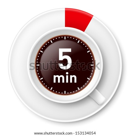 Cup of coffee with time limit for break: five minutes. Illustration on white background. - stock vector