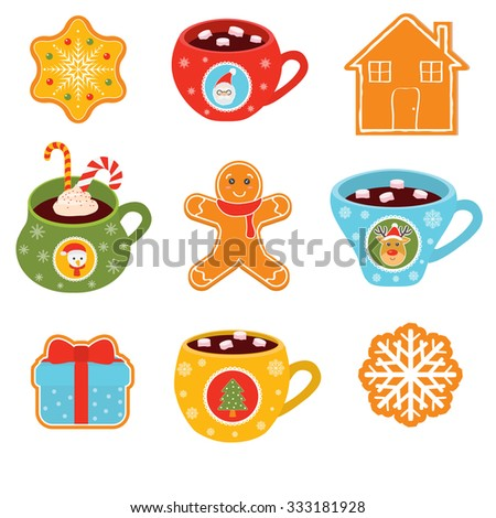 Cup of hot cocoa drink with cookie and candy. Christmas dessert - stock vector