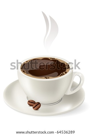 Cup of hot coffee - stock vector