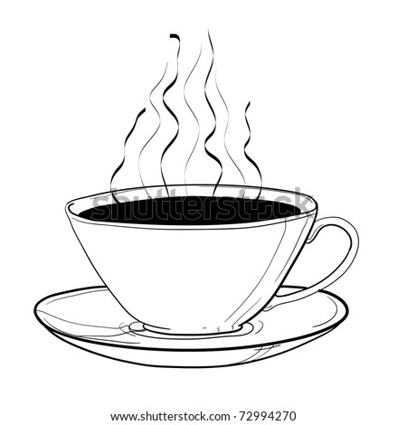 Cup of hot coffee. A children's sketch - stock vector