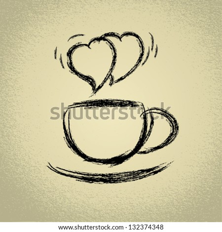 Cup of hot coffee. Heart-shaped steaming.Vector eps10 illustration. - stock vector