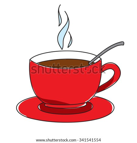 cup of hot coffee on a white background - stock vector