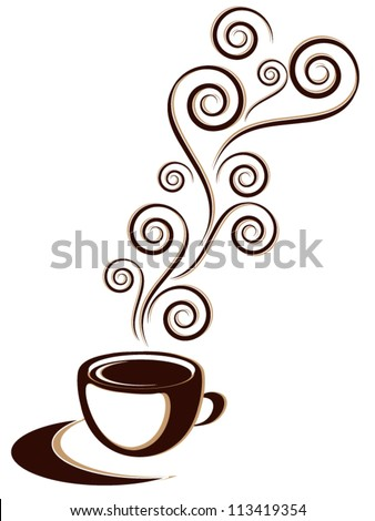Cup of hot coffee or tea drink with ornament and floral elements - stock vector