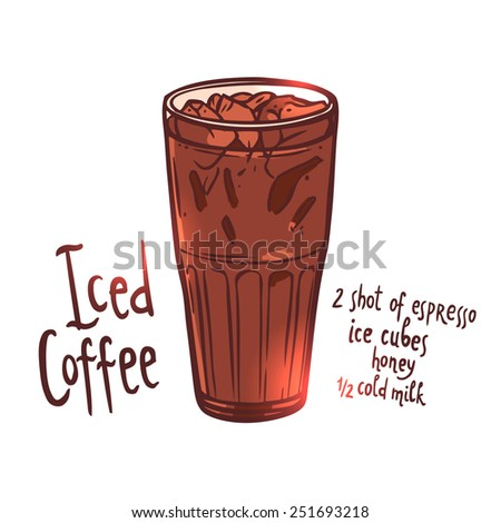 cup of Iced Coffee on white background with typography, hand drawn illustration - stock vector