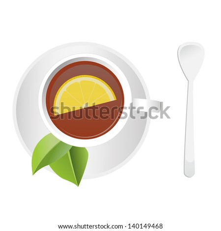 Cup of tea and saucer with two tea leawes and slice of lemon - stock vector
