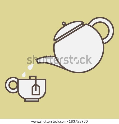Cup of tea and tea-pot, isolated on color background.