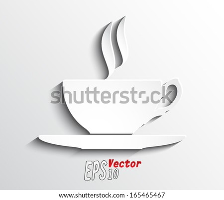 cup of tea , coffee / paper shape / vector illustration eps 10