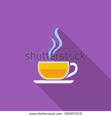 Cup of tea icon. Flat vector related icon with long shadow for web and mobile applications. It can be used as - logo, pictogram, icon, infographic element. Vector Illustration. - stock vector