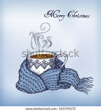 Cup of tea swathed in scarf. Blue christmas background. Hand-drawn card. Vector Illustration. - stock vector