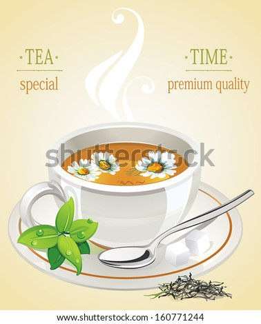 Cup of tea with chamomile flower and mint - stock vector