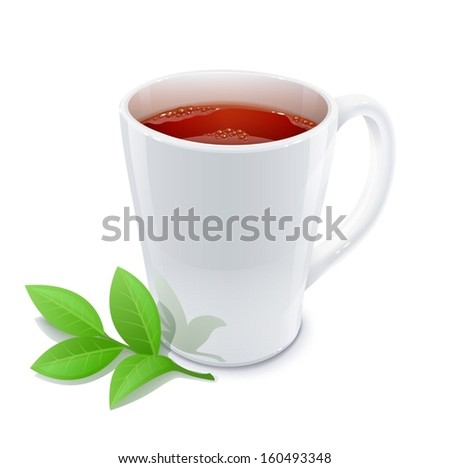 cup of tea with green tea leafs vector illustration isolated on white background EPS10. Transparent objects and opacity masks used for shadows and lights drawing - stock vector
