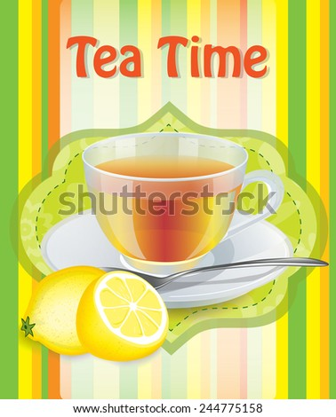Cup of tea with lemon on a saucer - stock vector