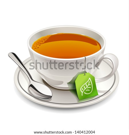 Cup of tea with tea bag - stock vector