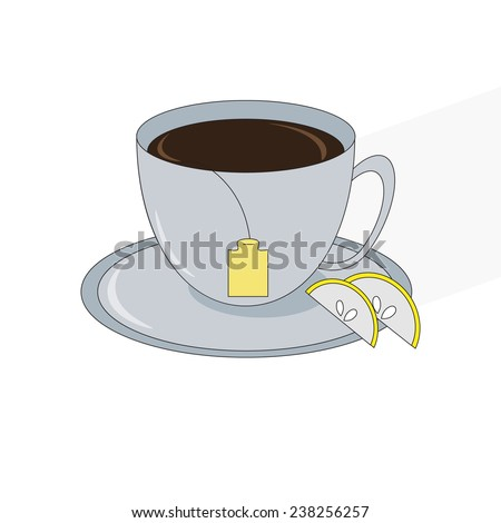 Cup of tea with tea bag and lemon slices on white background