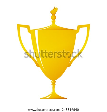 Cup of winner, gold trophy cup on white background , vector illustration