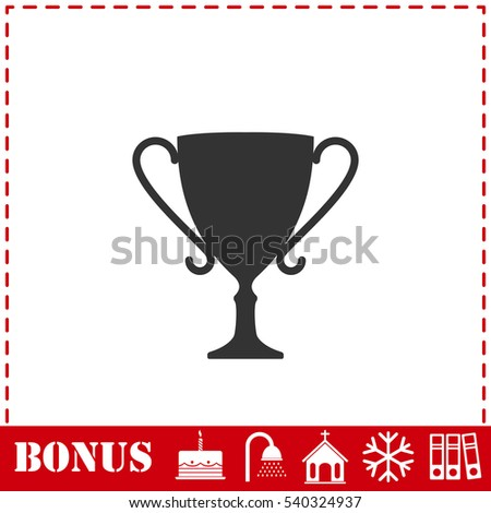 Cup trophy icon flat. Simple vector symbol and bonus icon