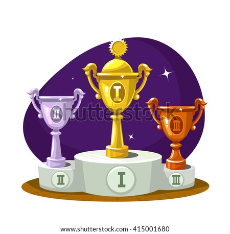 Cup winners on the podium. Gold, silver and bronze. Vector - stock vector