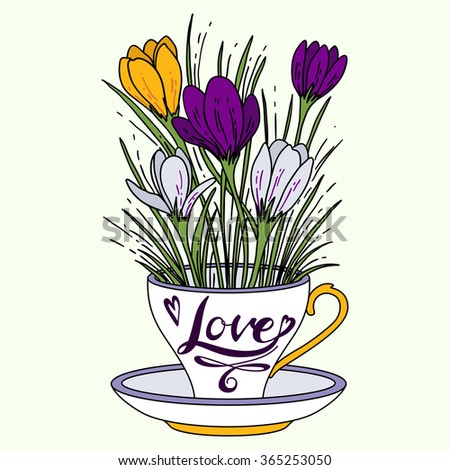 Cup with flowers.  Crocus. Vector illustration. - stock vector
