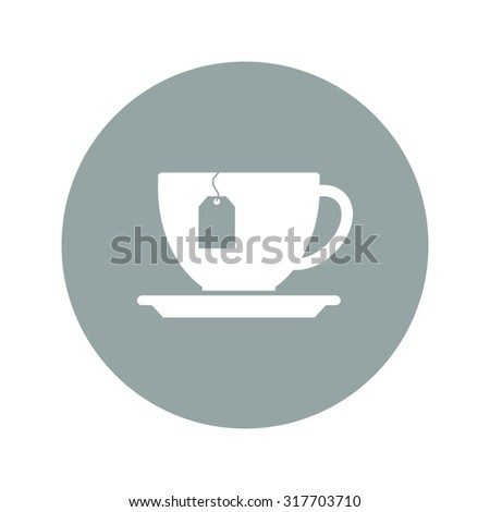 cup with tea bag . Flat design style eps 10 - stock vector