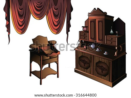 Cupboard and desk of early XIX century, vector illustration