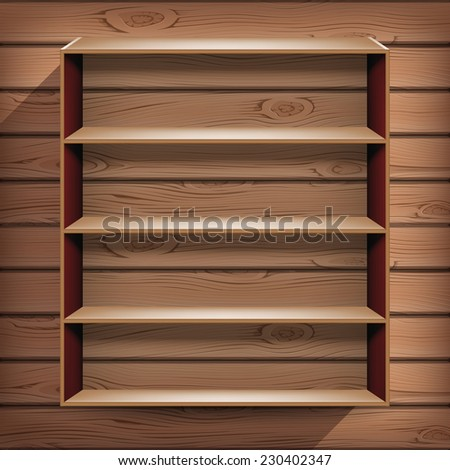 Cupboard with shelfs suspended on the wooden wall in vector