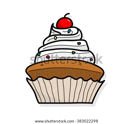 Cupcake, a hand drawn vector illustration of a cupcake with cherry on top.