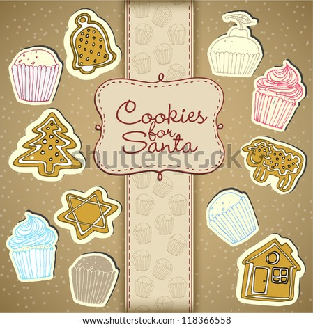 Cupcake And Honey Cake Collection - stock vector