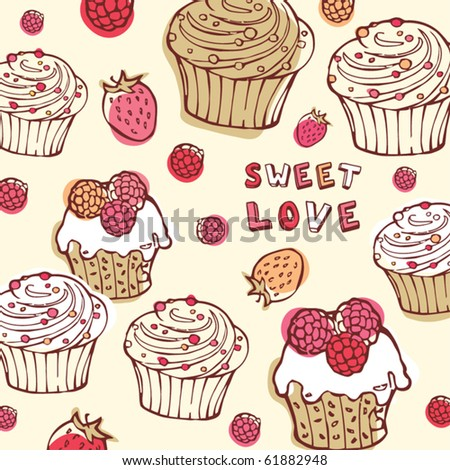 cupcake  background - stock vector