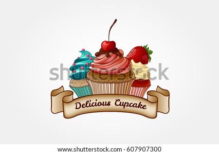 Cupcake Bakery Logo Template Logo Templates Stock Vector (Royalty ...