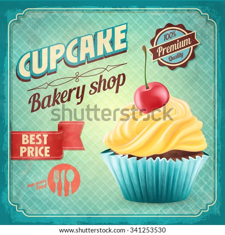 cupcake bakery shop vintage - stock vector