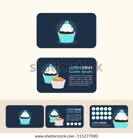 cupcake blue color concept business cards, discount and promotional cards/vector - stock vector