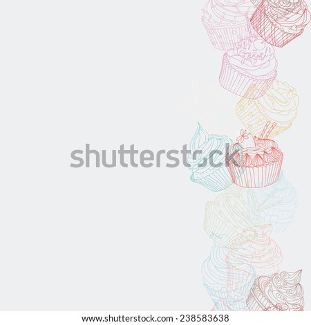 Cupcake border pattern. Seamless Sweet food texture. Use as a greeting card - stock vector