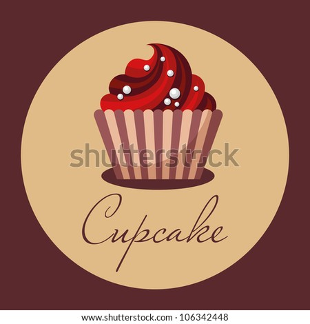 Cupcake, cake, cupcake sign, birthday cake, wedding cake, sweet shop, cafe - stock vector