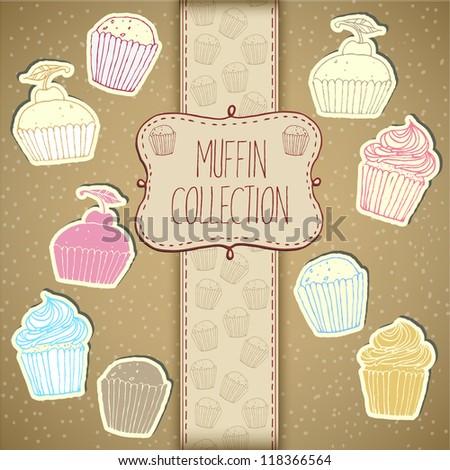 Cupcake Collection - stock vector