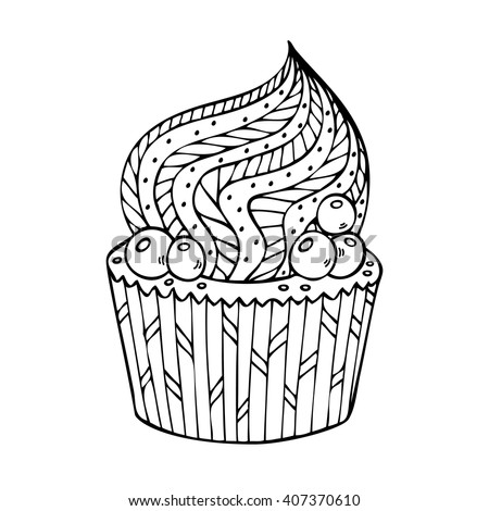 Cupcake Coloring Adults Coloring Book Page Stock Vector 407370610 ...