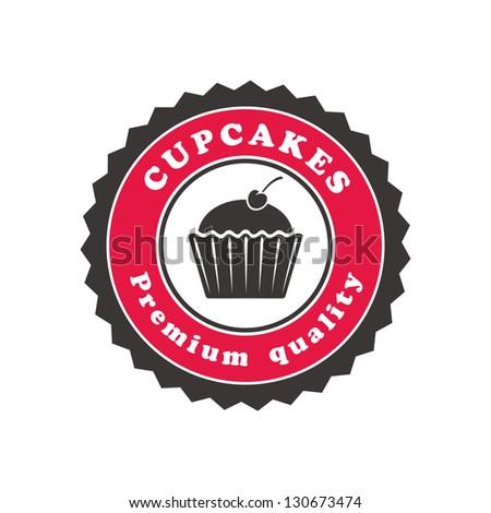 cupcake emblem - stock vector