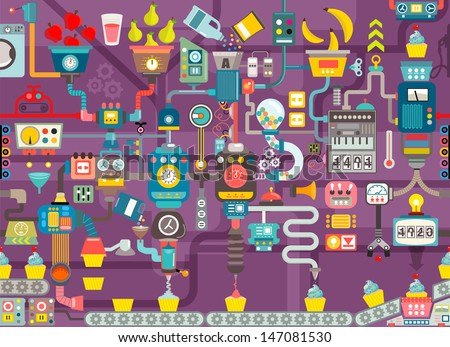Cupcake factory seamless geometric pattern, infographics charts, symbols, graphic elements, illustrator vector - stock vector