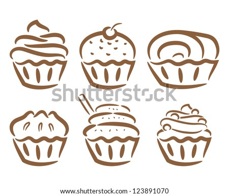 cupcake icon in doodle style - stock vector