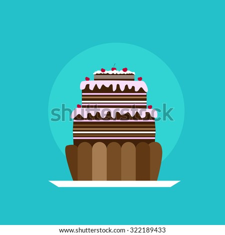 Cupcake Icon Tasty Cake Flat Vector Illustration