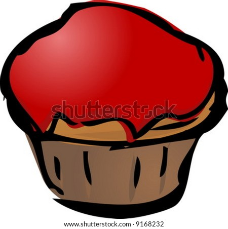 Cupcake illustration hand-drawn lineart sketch jam covered - stock vector
