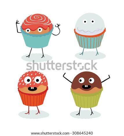 Cupcake illustration set. - stock vector
