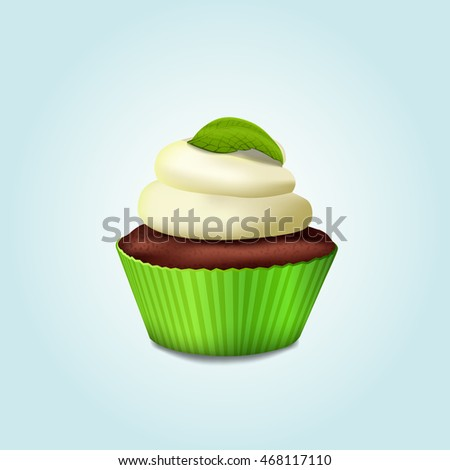 Cupcake in a green basket with white cream and mint leaves. Vector.