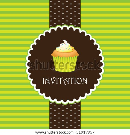 cupcake invitation background 07 - stock vector