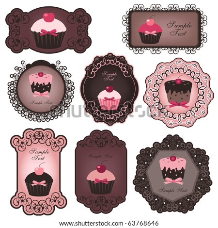 cupcake labels - stock vector