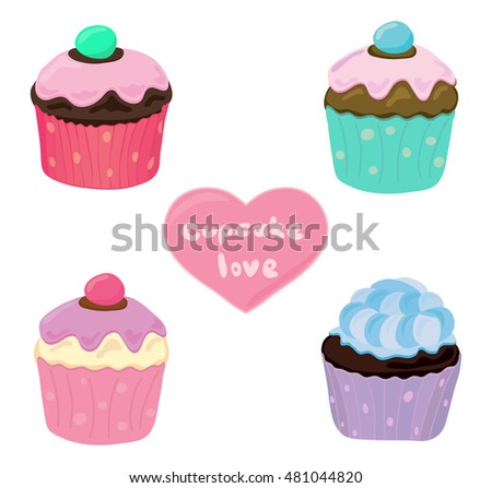 Cupcake love sticker design