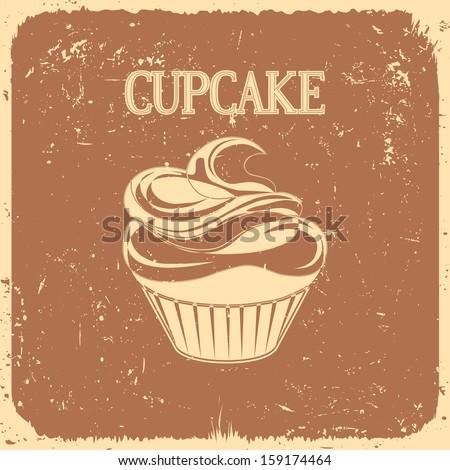 cupcake on vintage background - vector illustration - stock vector